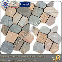 Natural beige slate stones for garden walkways