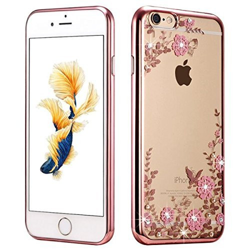 C&T Rose Gold Plating Bumper Clear Shiny Hard PC Cellphone Case Cover for Apple iPhone 7