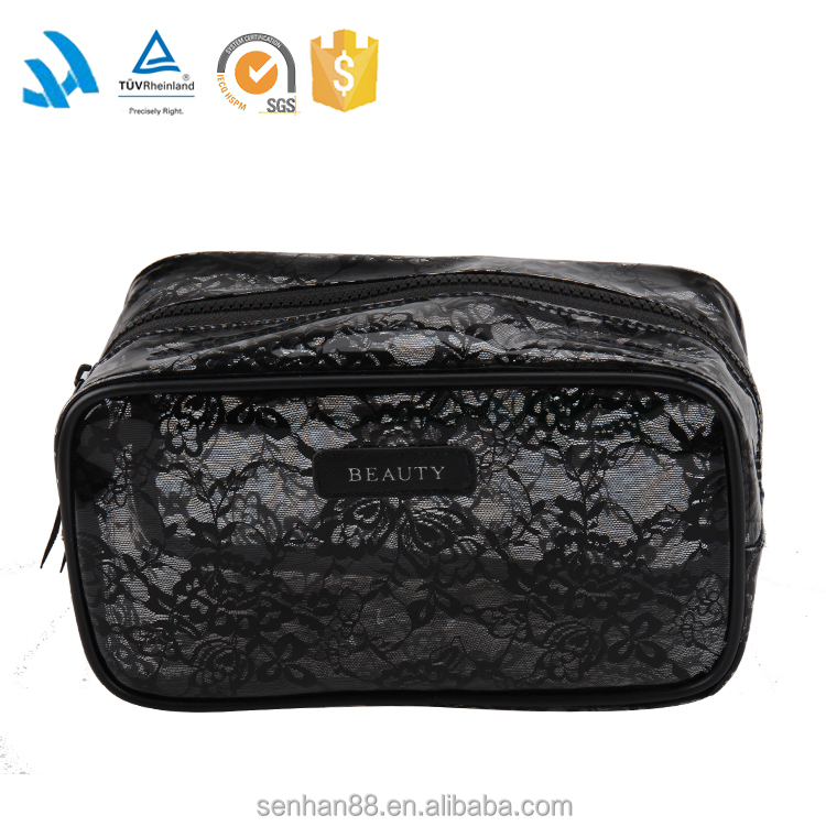 Fashion Black Sex Clear Pvc Cosmetic Bag Wholesale For Ladies