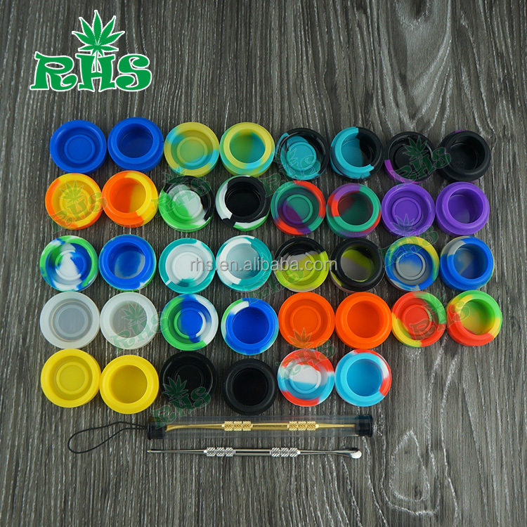 Butane oil silicone container,silicone jars dab wax vaporizer oil container small,silicone customized bho oil container