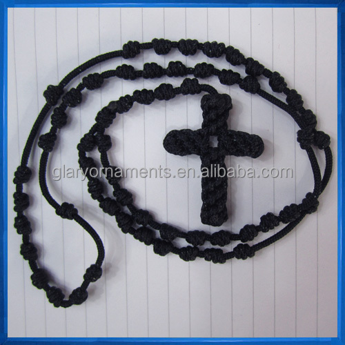 Black Knotted Thread Rosary Necklace,Rope cord rosary