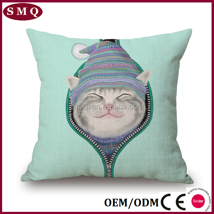 Linen/cotton Latest Design Digital Printing cartoon cat printed pillow