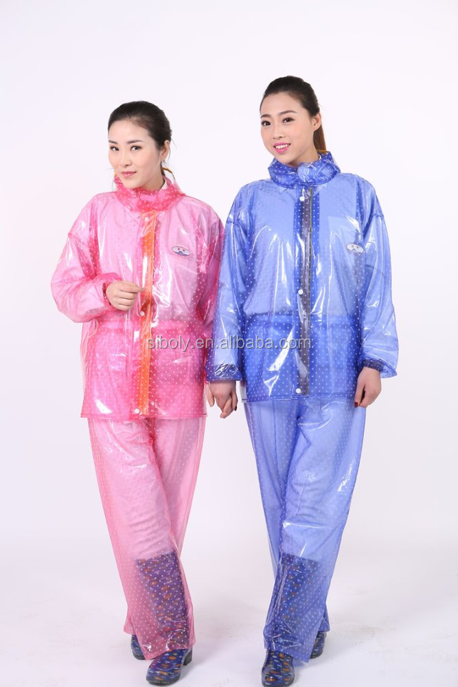 wholesale cheap OEM clear plastic hooded fashion ladies in plastic raincoats
