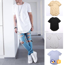 100% Cotton Crew Neck Curved Hem T Shirt Gym Men Fitness Muscle T Shirt