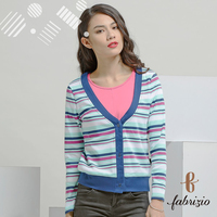 100% polyester pink blue stripe print no fastener casual lady's coat