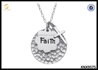 Sterling Silver Faith Dangling Cross Pendant Necklace. Personalized Silver Jewelry