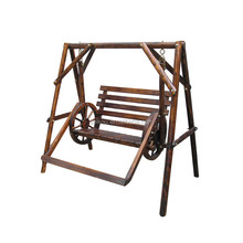 Good design outdoor hanging wooden double swing chair