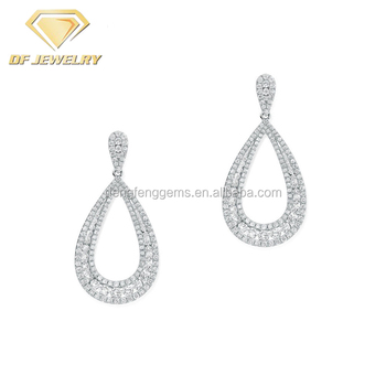 925 Silver Wholesale Jewelry CZ Stones Wedding Drop Earrings