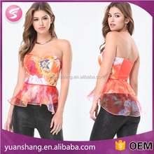 sexy women tops different types of blouse designs print chiffon blouse