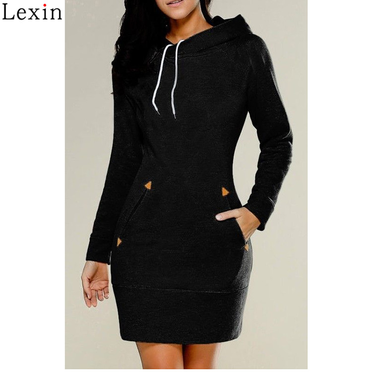 Custom Patterns Slim Cotton Long Sleeve Hooded Dress WIth Pocket