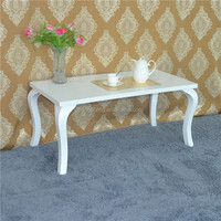 Rustic furniture wooden antique high gloss white chinese coffee table
