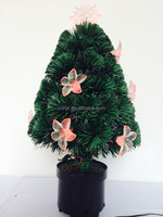 Small Optic Fiber Artificial PVC Christmas Tree With Red Flower LED Light Decor