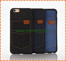 Casual Denim Cloth Mobile Phone Case for iphone 6 plus Card slot Pocket Phone Cover