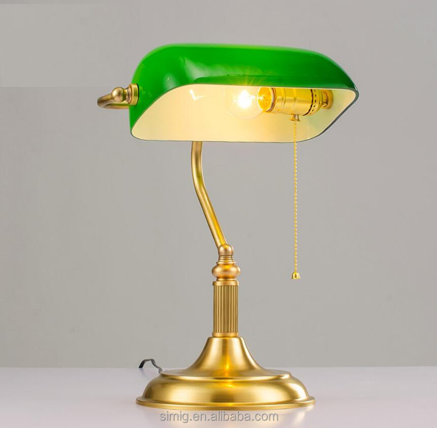 green shade golden body fancy brass table lamp for reading room