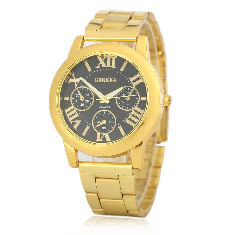 8407 New Fashion Geneva Brand Watches Luxury Steel Watch Men Crystal Rose Golden Casual Unisex Quartz geneva wrist watch