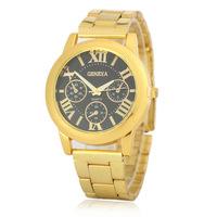 8407 New Fashion Geneva Brand Watches Luxury Steel Watch Men Crystal Rose Golden Casual Unisex Quartz geneva wrist watch
