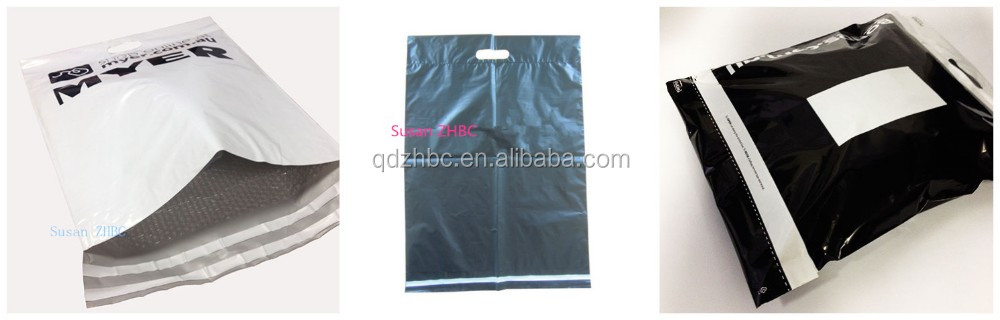 printed mail sack plastic carrier bags with punched out handle