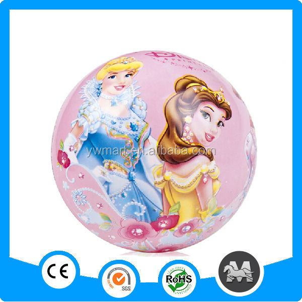 Small cartoon princess printing skippy ball colourful pvc ball for children