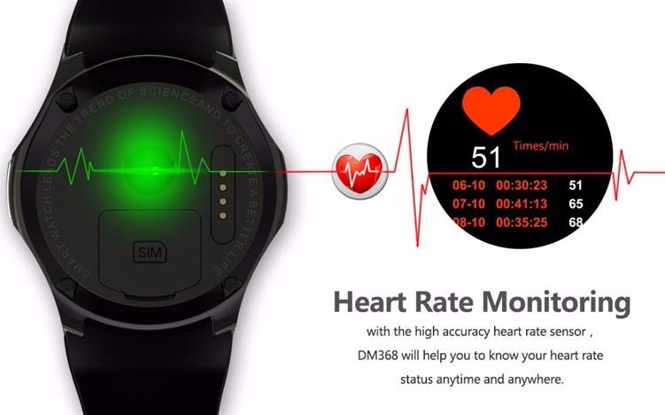 DM368 Heart rate monitor 3G WiFi Bluetooth Wristwatch smart phone watch