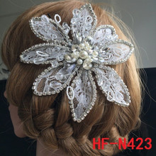 2015 New Wedding Pearl Rhinestone Lace Flat Hair flowers For Brides
