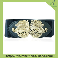 Wide Fashion stretch fabric belt with flower buckle