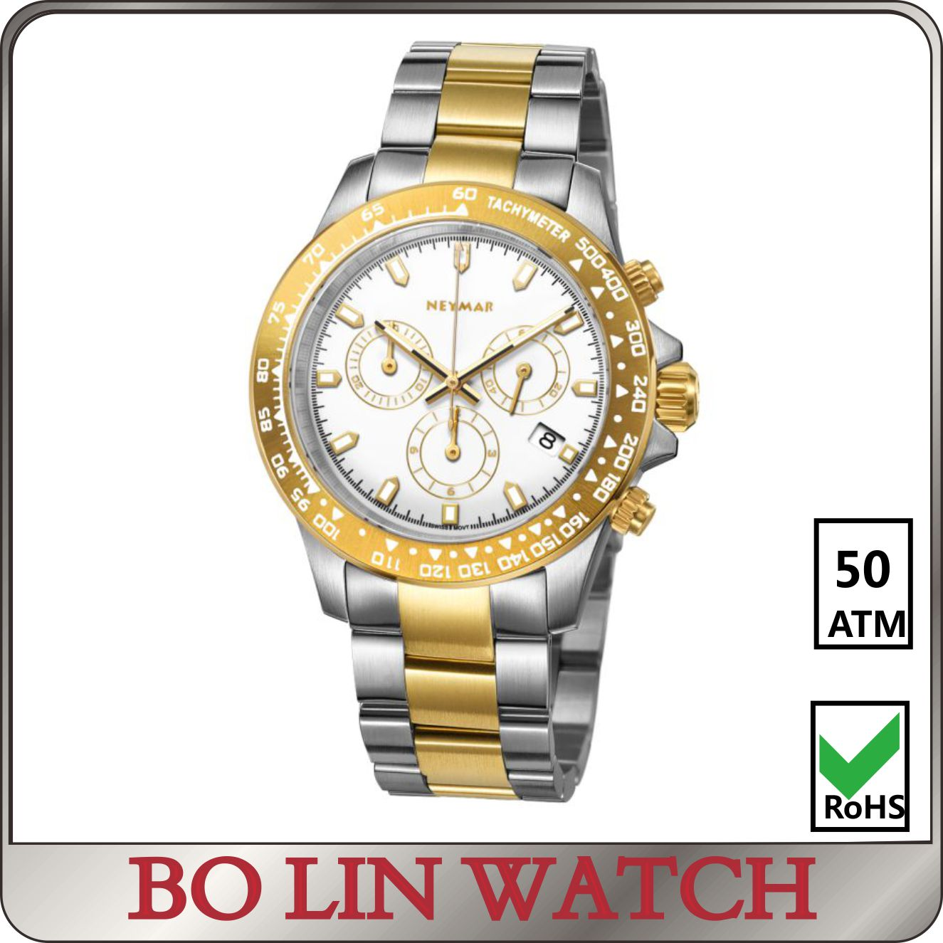 2018 Best seller 316l stainless steel chronograph no name watches logo Time Watch