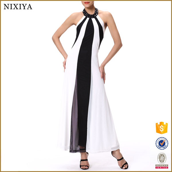 white and black hot sale casual maxi dress long cotton