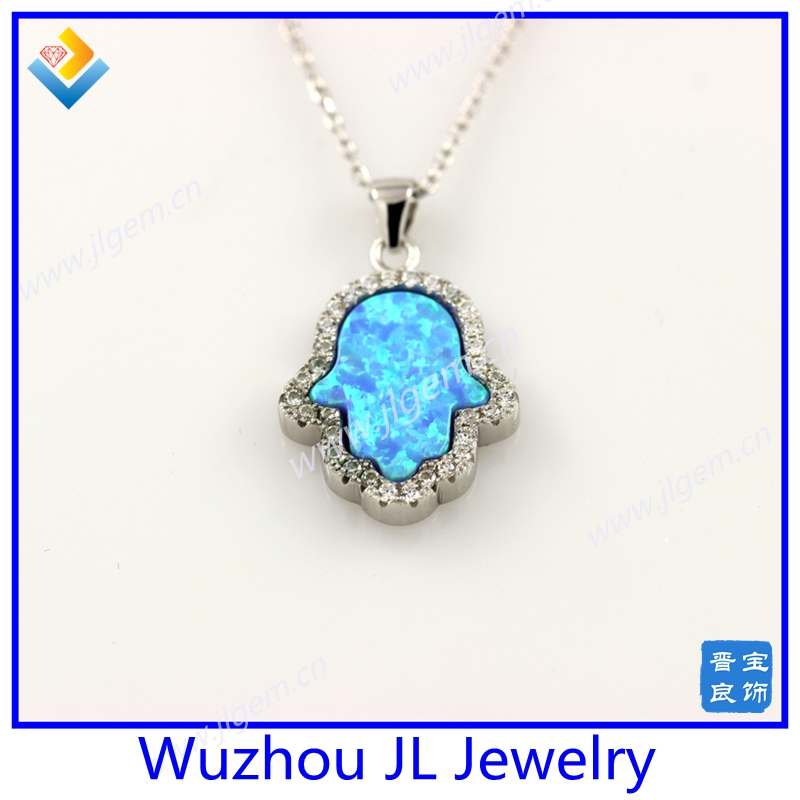 New Listing 925 Silver Synthetic Light Blue Hand Opal With CZ Stone Pendant Necklace