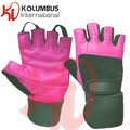 Genuine Leather Weight Lifting Gloves, Black And Pink Fitness Training Weight Lifting Gloves