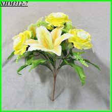 7 heads yellow lily mixed rose walmart wedding flowers