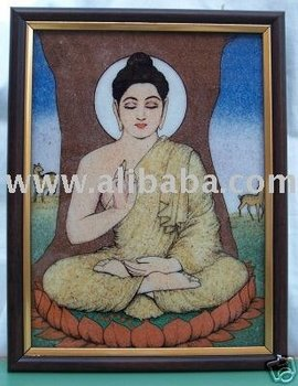 Lord Buddha, sitting under tree, A Gem Art Painting, Craft