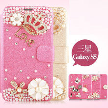 Fashion Leather PU Case Cover for Samsung S5,for Galaxy S5 Diamond Folio Leather Book Phone Case