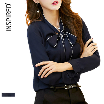 Top quality professional nice plain long sleeve formal blue woman blouse