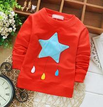 Childrens clothing wholesale baby stars printed blouses and tops Girl's long sleeve graphic tee
