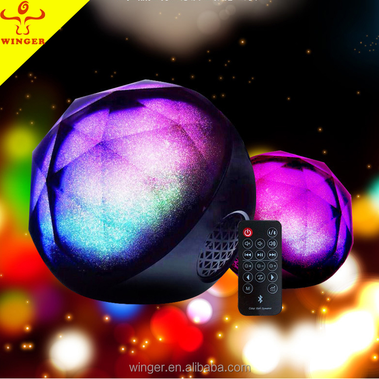 2017 newest crystal colorful ball rohs mini bluetooth speaker
