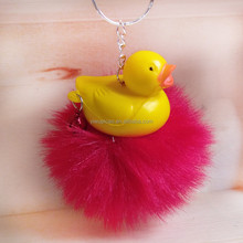 High Imitation Rabbit Fox Fur Ball Korean Version Ball Small Ducks Small Bells Key Ring Pendant