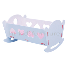 "HT-PDF018 50.5X39X(H)29.5cm E1 MDF Easy Assembly Baby Rocking Crib, 18"" Wholesale Wooden Doll Craddle With Mattress"