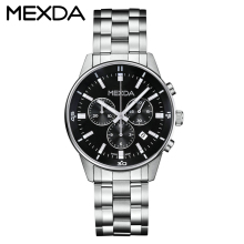 OEM custom brand japan quartz chronograph movement stainless steel back case black stainless steel band hand watch for men