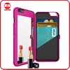 New Fashion Lady Cosmetic Dual Layer With Leather Card Slot Makeup Mirror Phone Case for iPhone 6 6S Plus