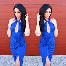 Sexy Women Halter Neck Split Front Cross Cut Out Summer Beach Maxi Dress For Clubwear Dress Nightclub