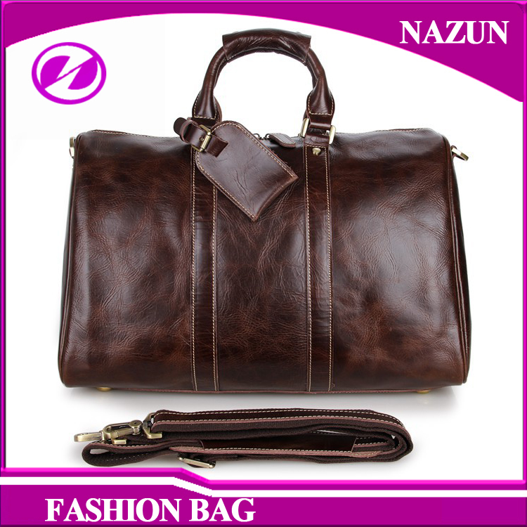 OEM/ODM luggages top quality Leather duffel bag best selling men genuine leather Travelling bags with long shoulder strap