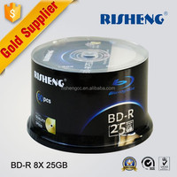 RISHENG blank blu-ray recordable disc 25gb factory wholesale/blank bd-r dl disk 6x printable/blank blu ray disk 50cake box