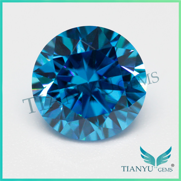 Hot Sale Round Brilliant Faceted Free Sample Gemstone American Cubic Zirconia Kashmir Blue Sapphire