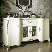 European Classical White Wooden Sideboard