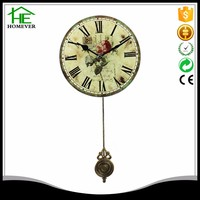 rose style vintage retro antique pendulum classic clock glass