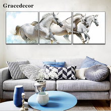 Modern Artwork Crystal Images White Ornament Running Horse Racing Oil Painting