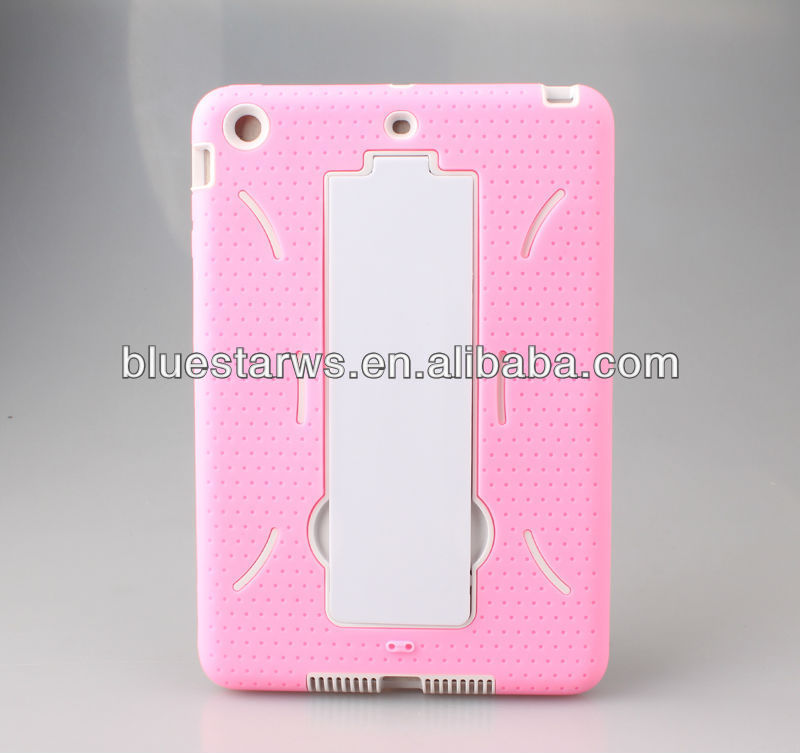 White/Pink Hard case PC & Soft Gel Silicon Hybrid Cover Case With Kick Stand For iPad Mini