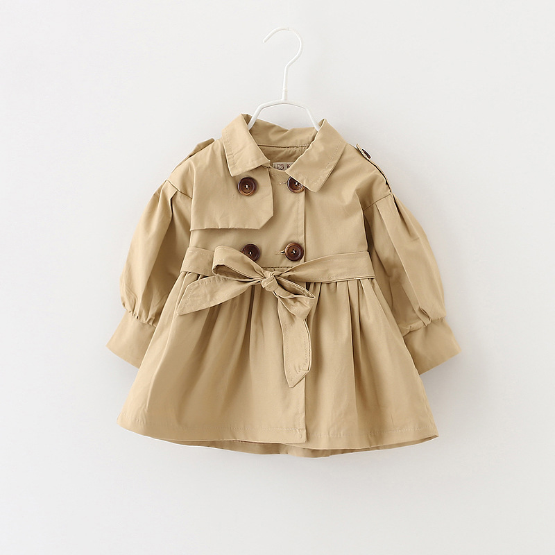 Girls Trench Autumn Long Sleeve Double Breasted Children Outerwear with Belt Solid Fashion Kids Trench Coats 3 Colors