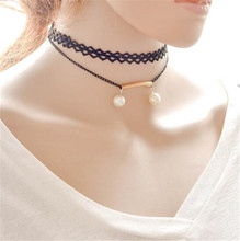Choker Necklace Circular Black Chain Lace Double Simulated Pearl Choker Collar Necklace For Women
