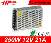 China supplier high quality 220v input ac to dc idustrial equipment single output 12v 250w switching power supply